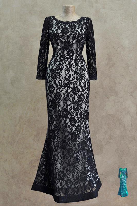 Великолепное длинное вечернее платье.