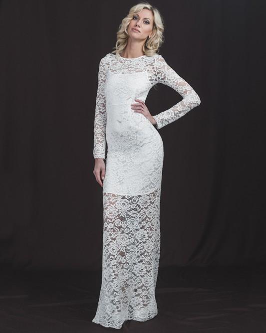 Элегантное прямое свадебное платье с длинным рукавом.