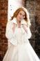 Свадебное пальто молочного цветас длинными рукавами