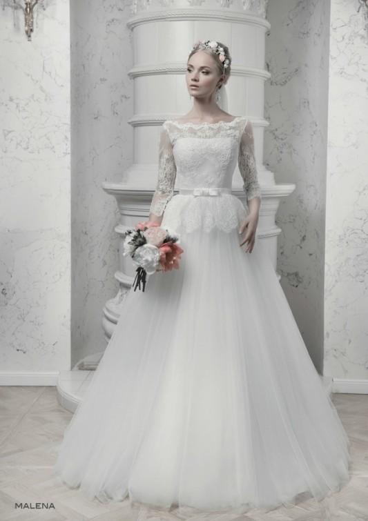 Очень красивое свадебное платье А силуэта.