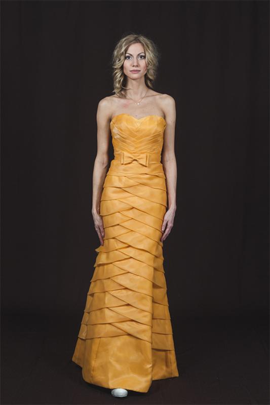 Желтое свадебное платье русалка