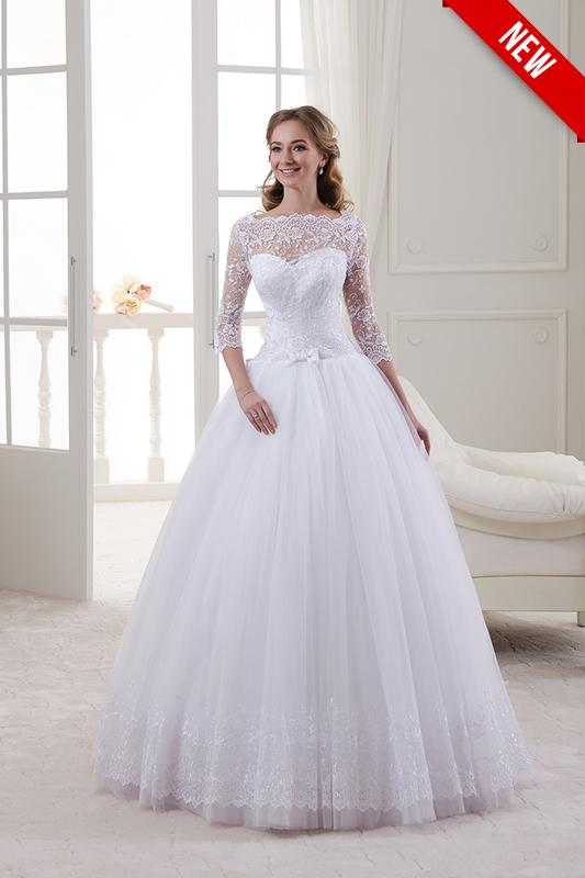 Белое пышное свадебное платье.