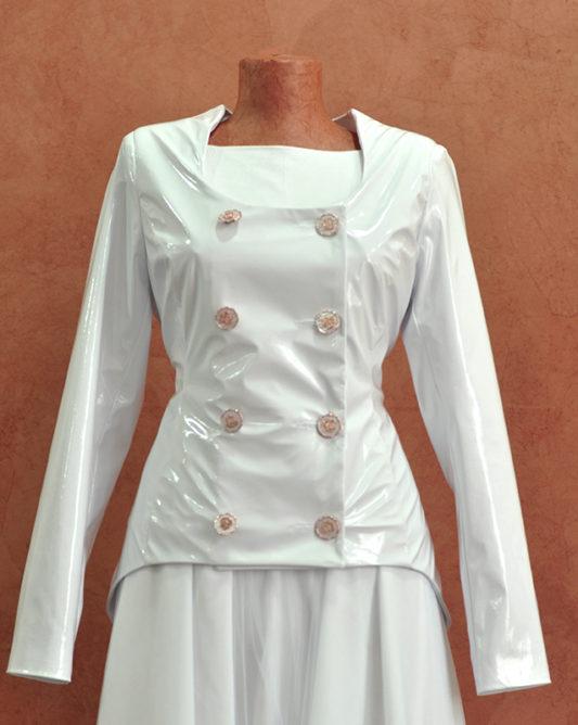 Лакированная свадебная куртка.
