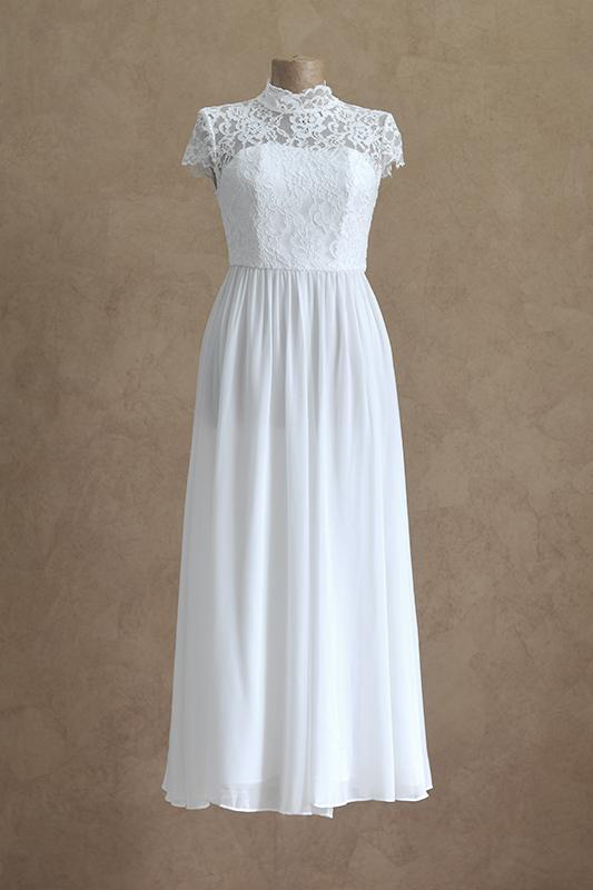 Длинное белое вечернее платье для венчания.