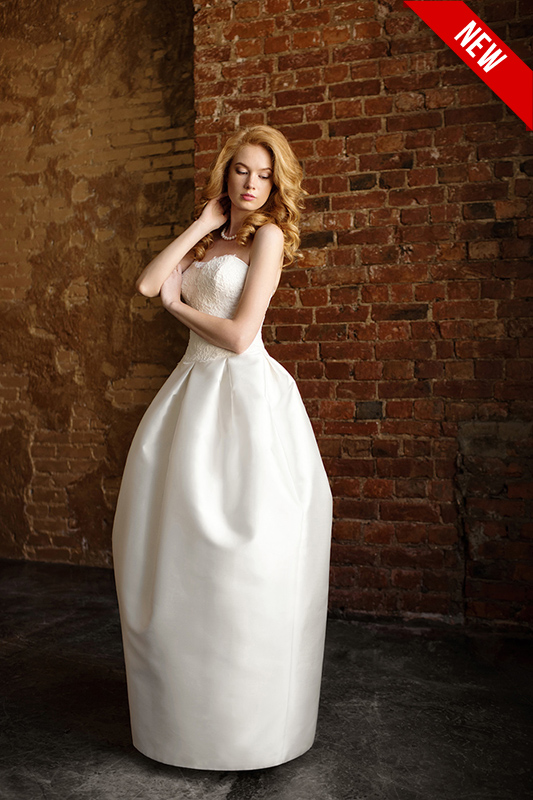 Цилиндрообразное свадебное платье в пол Y21