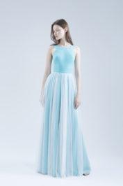 Свадебное платье А-силуэта в стиле минимализма Ameli голубое