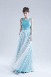 Свадебное платье А-силуэта в стиле минимализма Ameli голубое -1