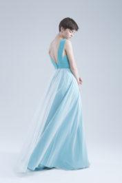 Свадебное платье А-силуэта в стиле минимализма Ameli голубое -2