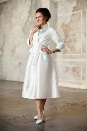 Свадебное пальто с поясом: К471 — фото 1
